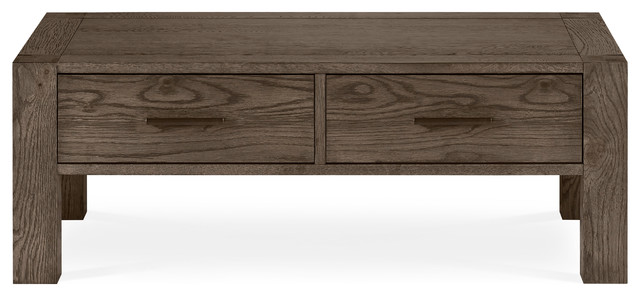 Tyler Dark Oak Coffee Table With Drawers. -2