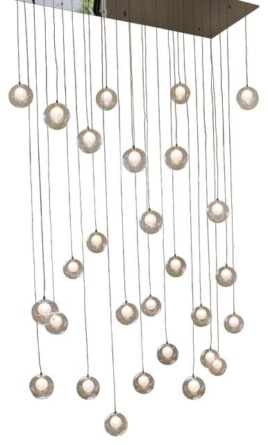 Ara 28 Light Glass Sphere Rectangular LED Chandelier