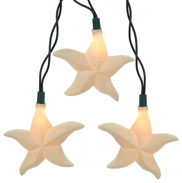 Starfish Holiday Light, Set Of 10 With Glitter 12 Feet Long Electric.