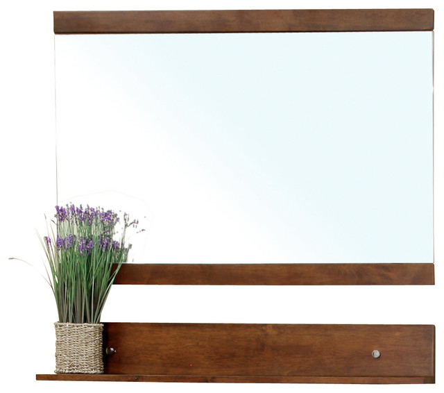 Solid Wood Frame Mirror Walnut Contemporary Wall Mirrors