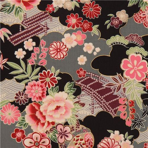 Black Grey Japanese Flower Fabric With Gold By Kokka