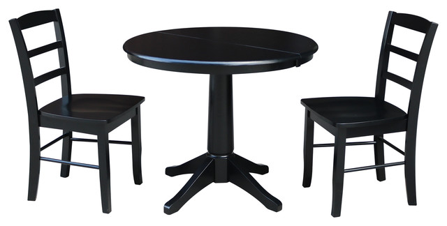 36 Dining Table With 12 Leaf and Madrid Chairs, Black, 3-Piece Set by International Concepts