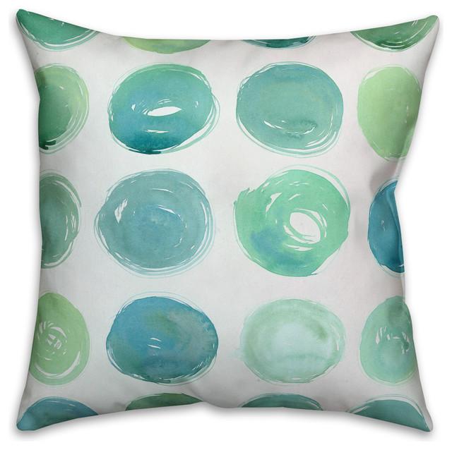 Teal Watercolor Polka Dots Spun Poly Pillow, 18x18.