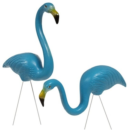 Feather Flamingo Lawn Decor, Set Of 2, Caribbean Blue Traditional Garden  Statues
