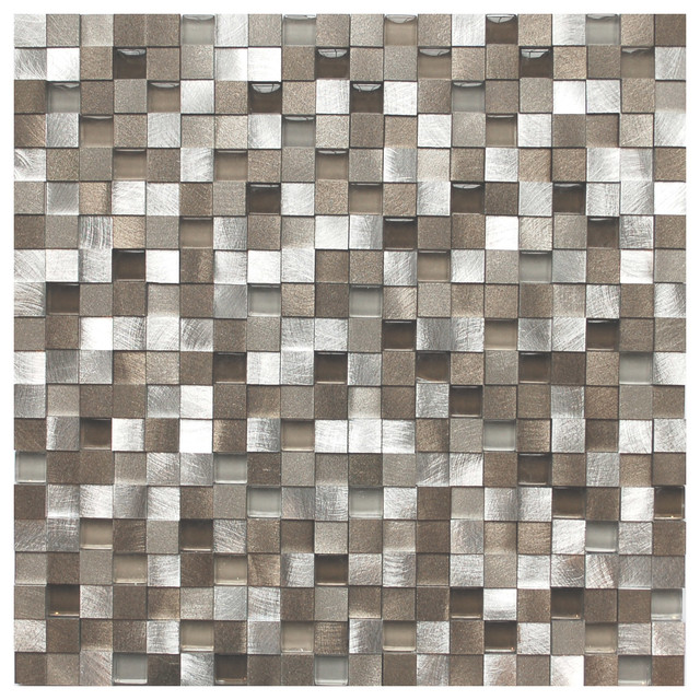 Kitchen Tiles Samples 3d silver and pewter aluminum square mosaic tile - contemporary