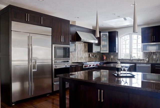 Espresso kitchen cabinets sleek cool designs interior for Sleek modern kitchen cabinets