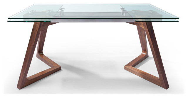 Whiteline Delta Extendable Dining Table Tempered Clear Glass Midcentury Dining Tables By Whiteline