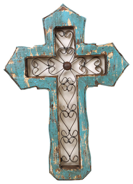 San Antonio Wall Cross Wall Sculptures By Mexican Imports