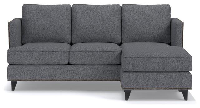 Genial Osborne Reversible Chaise Sofa, Smoke Midcentury Sectional Sofas
