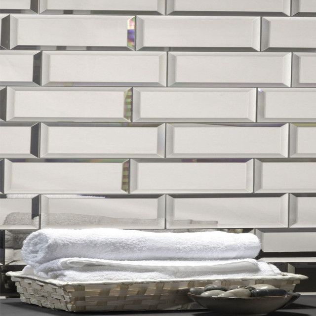 Terrific 3X12 Silver Mirror Glass Subway Tile Backsplash Sample Home Interior And Landscaping Ologienasavecom