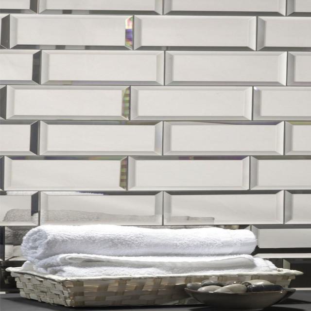 Brilliant 3X12 Silver Mirror Glass Subway Tile Backsplash Sample Interior Design Ideas Gentotthenellocom