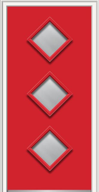 "Clear 3-Diamond Lite Fiberglass Smooth 37.5""x81.75"", Left Hand In-Swing, 37.5""x8."