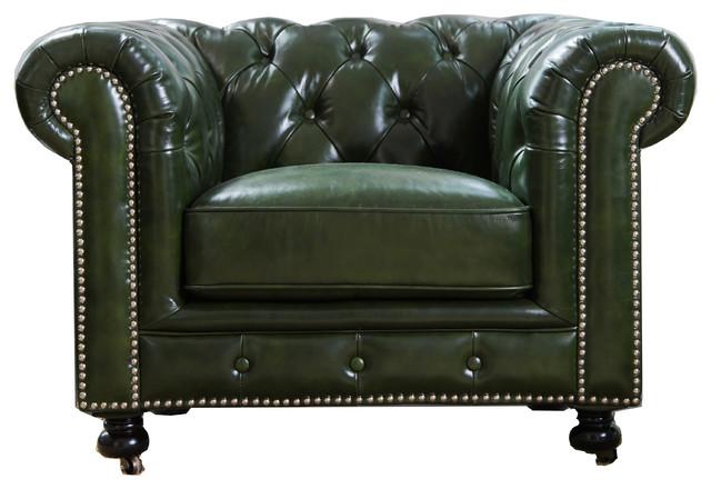 Bonnie Top Grain Waxed Leather Armchair by Abbyson Living
