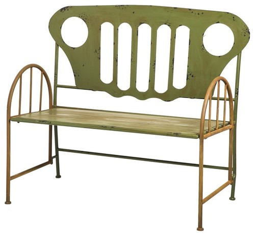 Evergreen Enterprises Re-purposed Metal Truck Bench