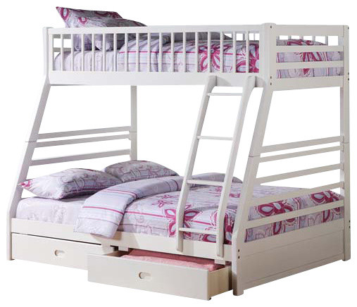 Jason Twin Full Bunk Bed With Drawers White