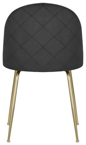 Velvet Brass Modern Dining Side Chair, Black
