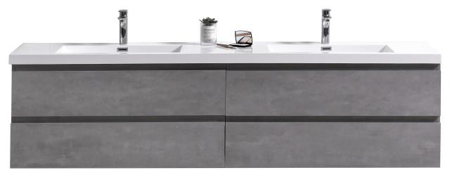 """MOB 72"""" Double Sink Wall Mounted Bathroom Vanity With Reinforced Acrylic Sink, C"""