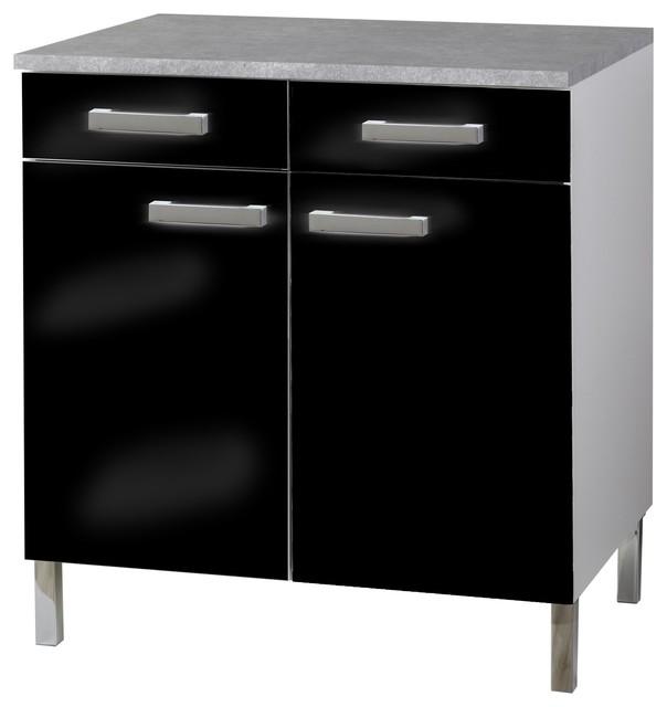 Vertigo meuble de cuisine bas noir avec 2 portes et for Element bas salle de bain