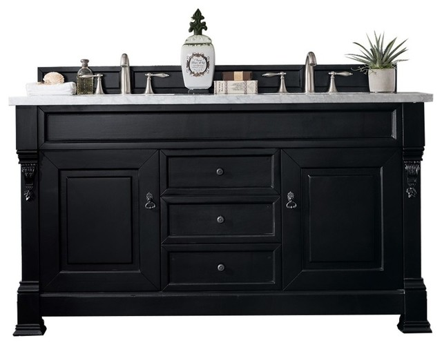 """Wentworth Wooden Double Bathroom Vanity, White Carrara Marble Top, 60""""."""