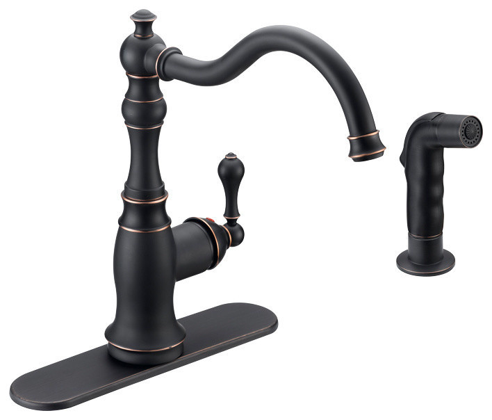 Designers Impressions 650234 Oil Rubbed Bronze Kitchen Faucet With Sprayer