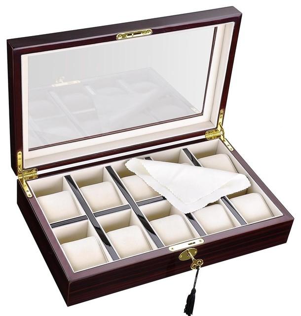 Xl Luxury 10 Slots Wood Watch Box Big Man Wristwatch Case Glasstop Display Gi&x27;.