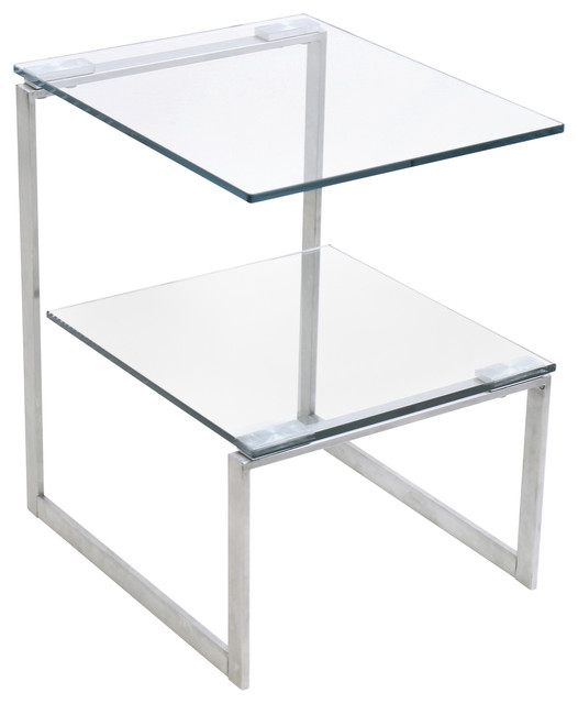 LumiSource 6G End Table, Stainless Steel With Clear Glass