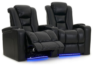 Mega XL950 Row of 2 Straight, Power Recline, Black Bonded Leather