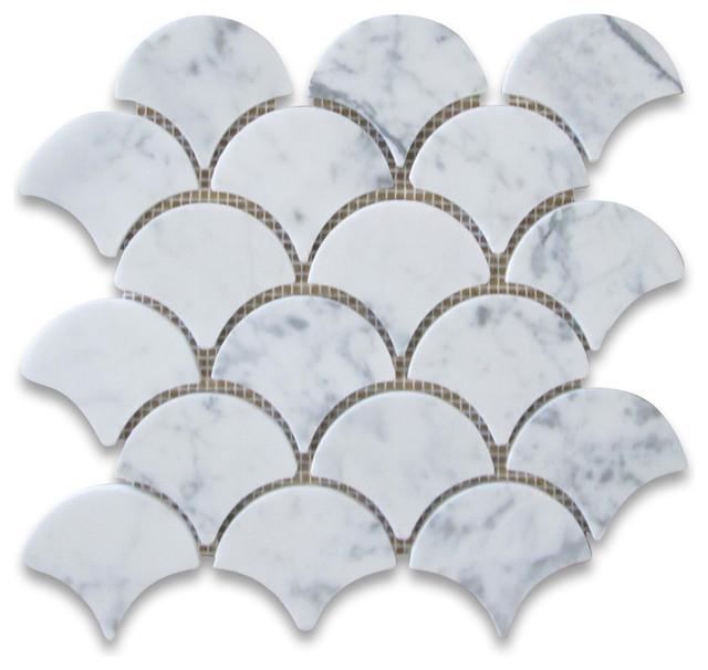 9 5 X9 85 Carrara White Grand Fish Scale Fan Shaped Mosaic Tile Honed