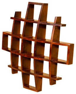 Contemporary Wood Display Wall Hanging Shelves Decor Curio Shadow Boxes - Contemporary - Display ...