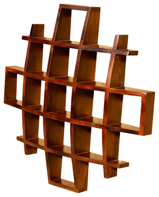 Contemporary Wood Display Wall Hanging Shelves Decor Curio ...