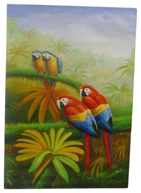 Oil Paint Canvas Art 4 Parrots Wall Decor tropical-wall-decor