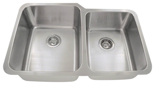 Offset Double Bowl Stainless Steel Sink Contemporary