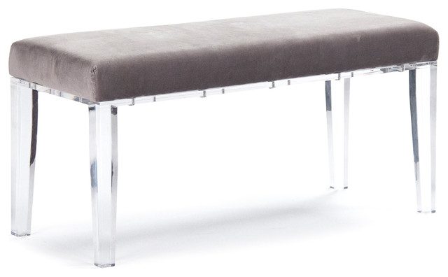 Tatiana Hollywood Regency Deco Acrylic Grey Velvet Vanity Bench Transitional Indoor Benches