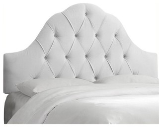 Pemberly Row Upholstered Queen Tufted Panel Headboard, White