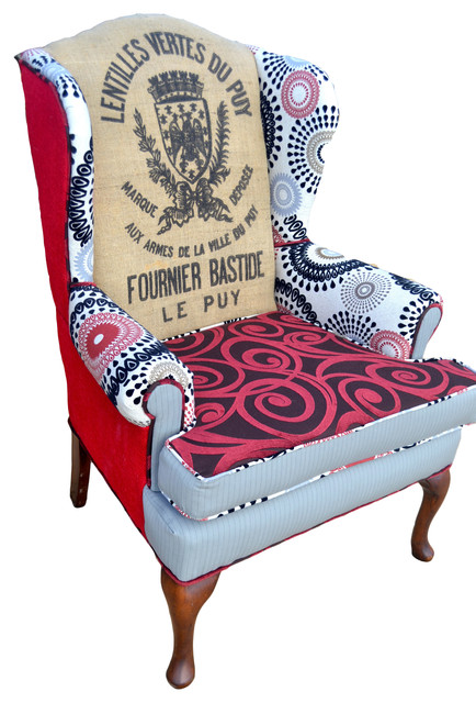 French Twist Red Wingback Chair Armchairs And Accent Chairs
