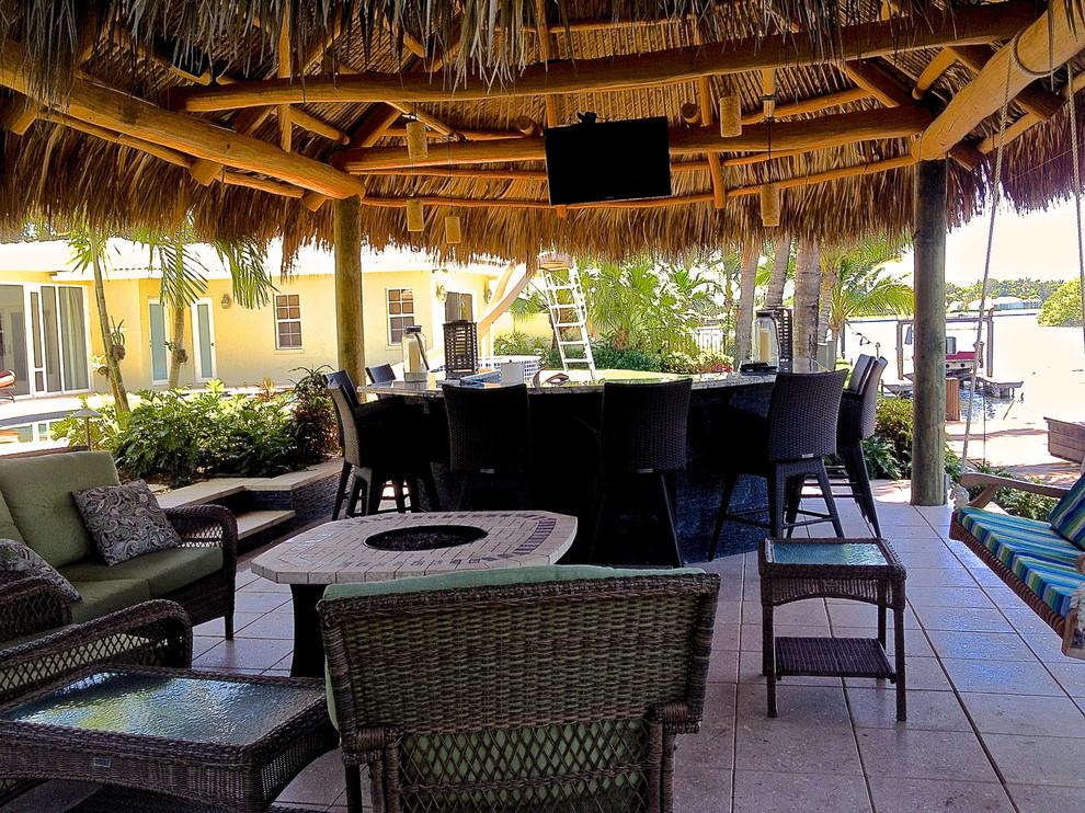 Tiki Hut, Outdoor Kitchen and Landscaping - Tropical ... on Backyard Tiki Hut Designs id=66280