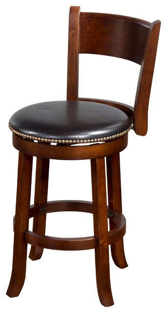 Cappuccino Swivel Stool With Back 24 Quot Traditional