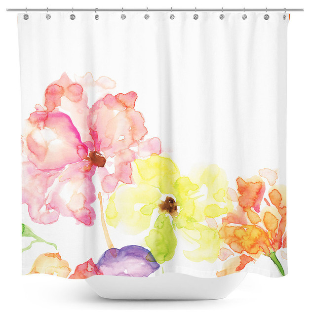 Floral Watercolor Printed Faux Silk Shower Curtain