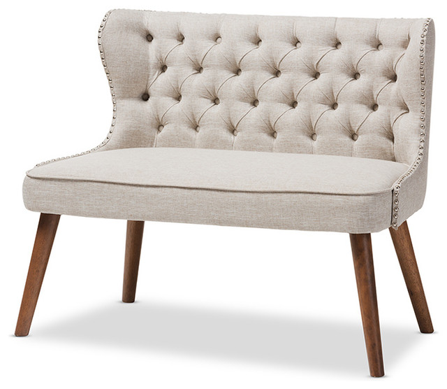 Scarlett Upholstered Accent Chair With Tuffting, 2-Seater, Light Beige.
