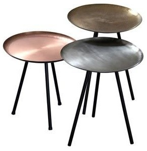 Set Of Three Metallic Side Tables   Silver Bronze Copper