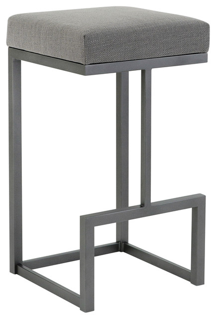 Fortuna Bar Height Backless Barstool, Loft Gray Fabric/flint Rock Gray, 30""