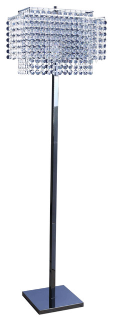 """60"""" Faux Crystal Floor Lamp Shade with Chrome Base contemporary-floor-lamps"""