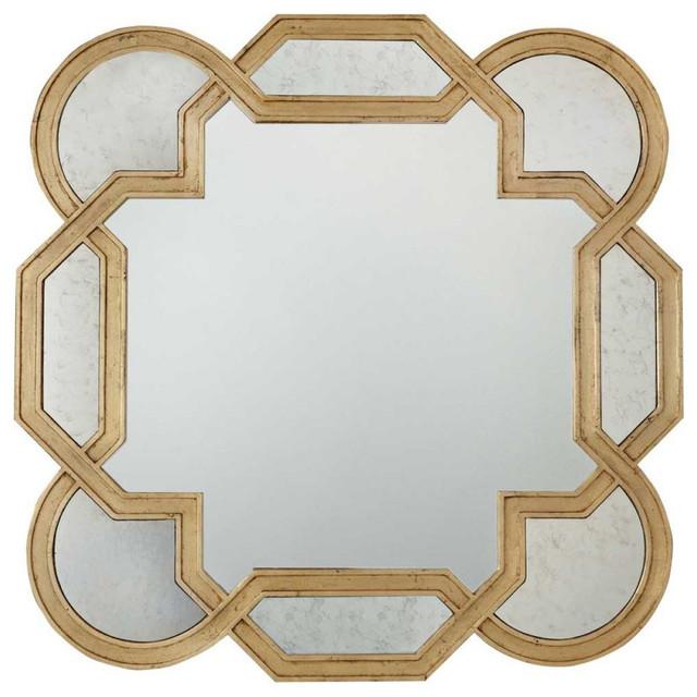 Oriana Modern Classic Decorative Antique Gold Leaf Mirror.