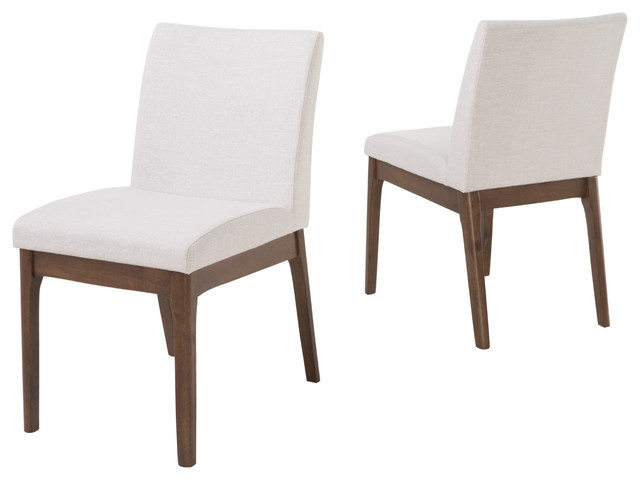 Leona Fabric And Wood Finish Dining Chair, Set Of 2, Light Beige/walnut.