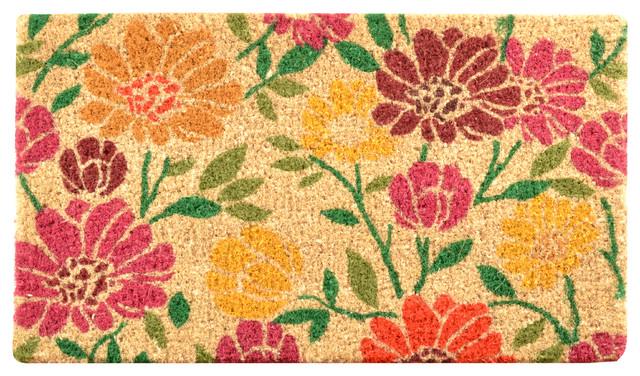 Spring Daisies Coir Doormat Transitional Doormats