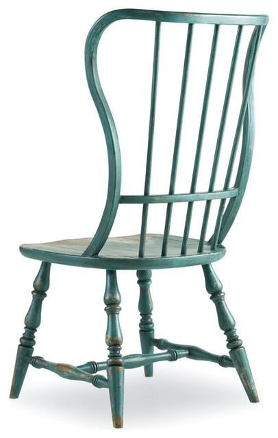 Alfred Spindle Side Chair, Distressed Aqua.