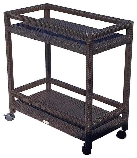 Abba Patio Outdoor Patio Wicker Bar Cart With Shelves And Wheels  Tropical Bar Carts
