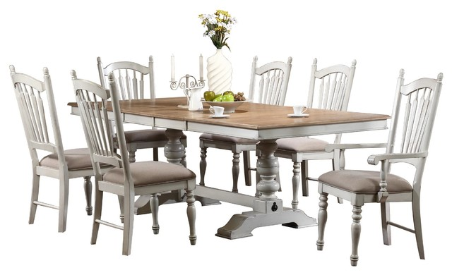 9 Piece Haggens Rustic Dining Set Table 2 Arm Chair 6