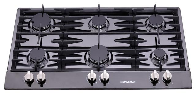 34 Black Anium Stainless Steel 6 Burner Modern Cooktops By Windmax Home Improvement Llc
