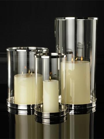 Silver Modern Hurricane Contemporary Candleholders